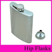 Wholesale Whisky Hip Flask - With Funnel Stainless Steel Hip Flask 4oz 5oz 6oz 7oz 8oz 10oz Pocket Hip Flasks Flagon Ounce Whisky Stoup Wine Pot Alcohol Bottle Wholesale