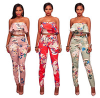 Wholesale Red Overall Shorts - Two Piece Floral Backless Club Strapless Full Bodysuit Fall Overalls Jumpsuit Off Shoulder Sexy Jumpsuits