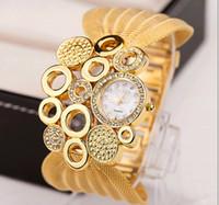 Wholesale Diamond Platinum - 2017 hot selling luxury watch women quartz fashion diamond watches ladies wristwatch round bracelets smart watches 3colors