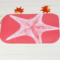 Wholesale Starfish Bedroom - Red Starfish Tapete Para Banheiro Bath Mats 100% Polyester Coral Fleece Rectangle Cartoon Non-slip Bathroom Bedroom Carpet Home Mat 40X60CM