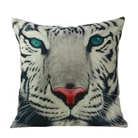 Wholesale Tiger Print Bedroom - Wholesale- Pillow Case Fashion pillowcases watercolor tiger cushions cotton linen animal tiger bedroom office pillow pillowcase 40*40