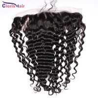 Wholesale Cheap Deep Curl Closure - Malaysian Deep Wave Frontal 13x4 Human Hair Curly Full Lace Frontals Closure Ear To Ear Cheap Deep Curl Frontal Closures Perfect With Weave