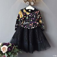 Wholesale Lace Girls Boutique Dress - Girls boutique outfits Fashion Children Dress Suits long sleeve Printed Sweater + Black lace long Tutu Skirts 2pcs Kids Sets Girl wear A1060