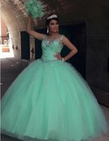 Wholesale fancy dress ball - 2017 Fancy Bling Beaded Mint Green Quinceanera Dresses Sheer Crew Beaded Crystals Ruched Long Prom Dresses Sage Ball Gown Pricness Dresses