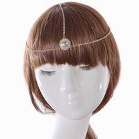 altın alin kafa bandı toptan satış-Sıcak Altın Kaplama Başkanı Zincir Saç Takı Rhinestone Kristal Yuvarlak Alın Saç Aksesuarları Boho Kafa Bandı Lots 12 Adet