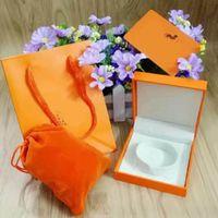 conjuntos de caja de joyería de terciopelo al por mayor-Marca de calidad superior famosa marca H pulsera y caja de collar con original de la marca bolsa de terciopelo Pouc joyería caja de regalo de color amarillo Naranja