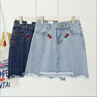 Wholesale High Waist Skirt Korean - Korean cherry embroidery high waist denim skirt A word