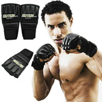 Wholesale Ultimate Glove - One Pair PU Half Finger Gym Thai Sparring Training Boxing Punch Ultimate Mitts Fingerless Multi Gloves Kickboxing