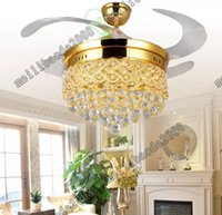 42 Inch Invisible Crystal Light Ventiladores de teto Modern LED Crystal Lamp Interior Parlor Ventiladores de teto Crystal Pedant Light com controle remoto MYY