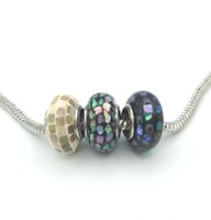 Wholesale Abalone Jewelry Making - JLN Multi Color 8*15 mm Abalone Shell Murano European Big Hole Beads Roundel Spacer For Jewelry Making DIY Charm Bracelet 0070