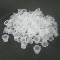 Wholesale Wholesale Tattoo Ink Sale - Wholesale 1000Pcs 9mm Small Size Clear White Tattoo Ink Cups Plastic Ttattoo Caps Suppply Hot Sale Free Shipping