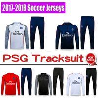 Wholesale Psg Jacket - 1718 tracksuit PSG jacket Training REAL suit kits Barcelonaes Gunmen Atletico Chelsea MATUIDI PSG football Madrid shirts skinny pants Sports