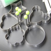 Wholesale Heart Shaped Omelette - 5pcs lot Omelette Mould Stainless Steel Round Flower Heart Shape Egg Mold Biscuit Frying Egg Rings Mold Cooking Tools