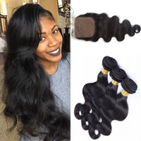 Wholesale Pc Based - Indian Body Wave silk base closure with hair bundles 4 pcs lot Virgin Indian Human Hair with closure Weave G-EASY