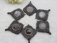 Wholesale Geode Pendant Necklace - Paved Rhinestone Fashion Geode Agate Stone Pendant Necklace for Sale DIY Jewelry Making