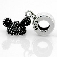 Wholesale Mouse Animal Hat - Mickey Mouse Mickey Ear Hat Charm 100% 925 Sterling Silver Beads Fit Pandora Charms Bracelet Authentic DIY Fashion Jewelry