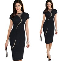 Wholesale Elegant Zip - 2016 Hot selling Sexy Illusion Fashion Mesh Women Club wear Full Zip Back Black Patchwork Elegant Slim Pencil dress