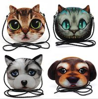 Coin Purses all people as pics 3D Shoulder Bags Cat Face Pouch Bag Cartoon Print Messenger Bag fashion 3D print animal pattern Handbag for women Shoulder Bag D534 5pcs
