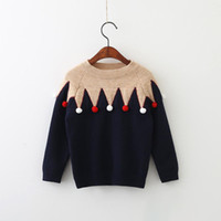 Wholesale Baby Girls Winter Jumpers - Christmas Sweaters Baby Girls Knitted Ruffles Pullover Kids Girls Autumn Winter Jumper Outwear 2017 Kids clothing