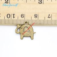 bronze elefanten halskette groihandel-25pcs Antik Silber Bronze plattiert Elephant Charms Anhänger für Halskette Schmuck machen DIY handgemachte Handwerk 14x15mm
