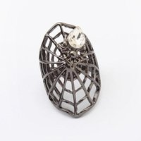 Wholesale Wholesale Fashion Spider Jewelry - rings fashion Women New Gold Silver Plated Cluster Rings Exaggerated Rhinestone Alloy Spider Web Finger Ring Jewelry Drop Shipping SR447