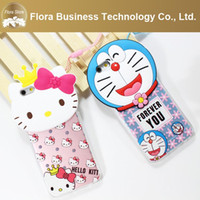 Casi di accessori del telefono cellulare carino 3D con corda Ciao caso del telefono di rosa del silicone del gattino di Cartoon Kitty per iPhone 6 6s 6plus 6splus