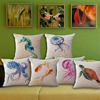 Wholesale Goldfish Set - Sea Life Devilfish Turtle goldfish Pillow Case Cushion cover Square linen cotton Throw Pillowcase Cover Home Sofa bedding set Decor 240490