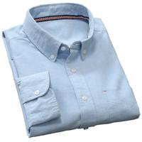 Wholesale Men S Linen Dress Shirts - Wholesale-High Quality 100% Cotton Men Shirt New 2016 Brand Solid Casual Shirt Men Oxford Dress Shirts Social Camisa Masculina White Grey