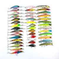 ingrosso bassi della porcellana-2017 Minnow 43 Pz / lotto Fly Fishing Lure Set Cina Esca Dura Jia Lure Wobbler Carp 6 Modi di Pesca Tackle Bass All'ingrosso