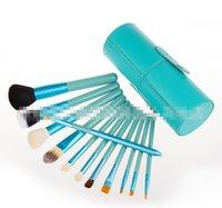 Wholesale Round Case Makeup Brush Set - 2016 New 12pcs set Makeup Brush Cosmetic Brushes Tool Set with Cylindrical Cup Case round Brush Bag Beauty Tools Set