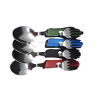 Wholesale Hiking Folding Spoon - Durable 3-in-1 outdoor travel camping hiking pocket folding spoon fork knife E00506
