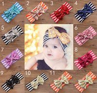 Wholesale Handmade Baby Headbands Bows Accessories - 11 Color New Fashion girls Bow stripe headbands baby sequins bowknot headband girls Striped cotton headbands Handmade baby Accessories B001