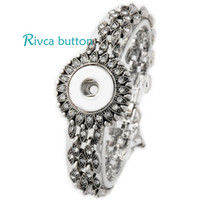 P00712 Hot Wholesale Snap Pulseira Bangles Mais recente Design Chain Antique Silver Plated Vintage Bracelet Fit Snaps Button Jewelry
