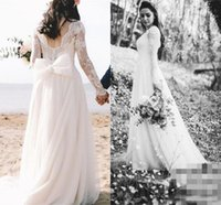 Wholesale pricing chart - Romantic Lace Wedding Dresses Long Sleeves Zipper Bow Knot 2017 Bridal Dresses Customized Sweep Train Cheap Price