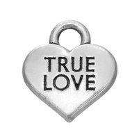 Myshape Charms Jewelry Plated Heart Charm Engraved Letter Colgante TRUE LOVE para hacer collares de pulseras Making