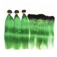 iki ton yeşil saç toptan satış-Koyu Kökleri 1B / Yeşil Ombre Bakire Saç Dantel Frontal Kapatma ile İki Ton 1B Yeşil Ombre Düz Saç Dantel Frontal ile Örgüleri
