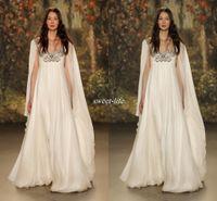 Wholesale Long Skirt Boho - Empire Waist 2016 Maternity Wedding Dresses with Cowl Back Scoop Neck Beaded Crystal Chiffon Plus Size Long Boho Bridal Gowns Jenny Packham