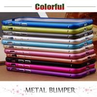 Wholesale S4 Bumpers - Ultra Thin Hard Slim Aluminum Metal Bumper Frame Case For iPhone 7 Plus iPhone 6S 6 Plus SE 5S Samsung S6 S5 S4 Note 4 3 Free Ship MOQ:10pcs
