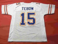 Compra Florida-Cheap retro # 15 TIM TEBOW CUSTOM FLORIDA GATORS JERSEY BIANCO HEISMAN Mens Stitching Throwback Taglia S-5XL Maglie da calcio