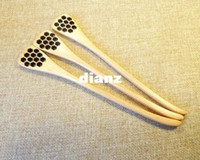 carved wood spoon - Cute Wood Creative Carving Honey Stirring Honey Spoons Honeycomb Carved Honey Dipper Kitchen Tool Flatware Accessory