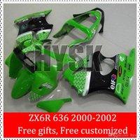 Wholesale Kawasaki 636 Plastic Kit - ABS Plastic Fairing Kits Of Kawasaki ZX6R Ninja 636 00 01 02 ZX-6R 2000 2001 2002 ZX 6R 00-02 Green Cowling White Arrow Black Stripe