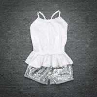 Wholesale Children S Cute Fashion - Summer Fashion Kids Sequins Clothing White Top+Short 2 PCS Children Clothes Set For 1~4 Y Kids 4 S l