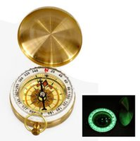 Wholesale portable navigation car online - Pocket Compass Outdoor Sports Camping Hiking Portable Brass Pocket Golden Fluorescence Compass Navigation Outdoor Gadgets CCA7191