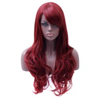 Wholesale Red Hair Wigs Pieces - Hair Long Wavy Red Wig Womans Heat Resistant Synthetic Female Wigs For Black White Women Fake Hair Pieces