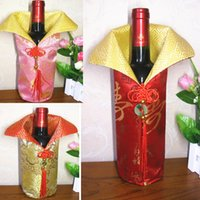 Wholesale Silk Chinese Wine Bottle Bags - Chinese Handmade Silk Wine Bottle Cover With Chinese Knot New Year Christmas Table Decoration Bottle Cover Bags