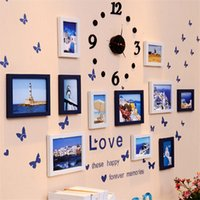 Wholesale Photo Frames For Walls - New Photo Wall Clock Decal and Picture Frames Kit for Home Decoration Solid Wood Picture Frames Set