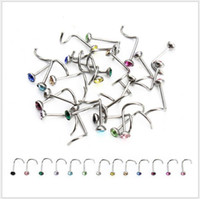 Wholesale Steel Nose Screws - 316L Surgical Steel L Shaped Nose Stud Screw with Crystal Indian Nose Stud Lots of 100pcs