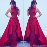 Wholesale Celebrity Dresses Vintage Style - 2018 Formal Red Evening Dresses Dubai Arabic Styles Sheath Jewel Neck with Beads Appliques Party Prom Gowns Celebrity Wears