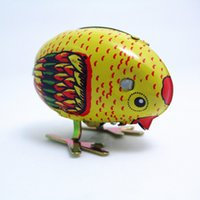 Wholesale Wind Up Toy New - New Arrival Classic Wind Up Children Chick Tin Toy Clockwork Spring Pecking Chick Vintage Style For Kids WJ042