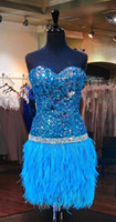 Wholesale Short Turquoise Cocktail Dress - Turquoise Sequin Feather Short Prom Dress Strapless Beaded Backless 2018 Mini Homecoming Cocktail Party Bling Sweet 16 Dresses